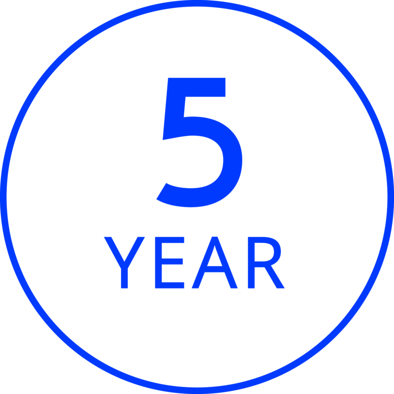 5 Year Limited Product Guarantee With Proof of Purchase